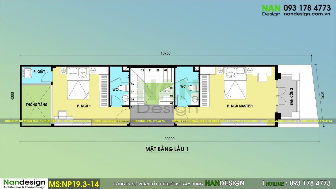 Bản Vẽ Mặt Bằng Lầu 1 Mẫu Thiết kế Nhà Phố 3 Tầng 4x20 Tân Cổ Điển Với 3 Phòng Ngủ