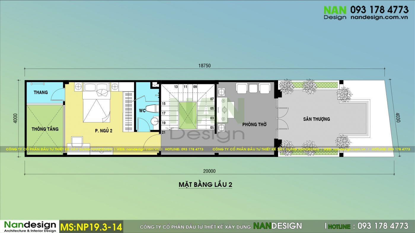 Bản Vẽ Mặt Bằng Lầu 2 Mẫu Thiết kế Nhà Phố 3 Tầng 4x20 Tân Cổ Điển Với 3 Phòng Ngủ