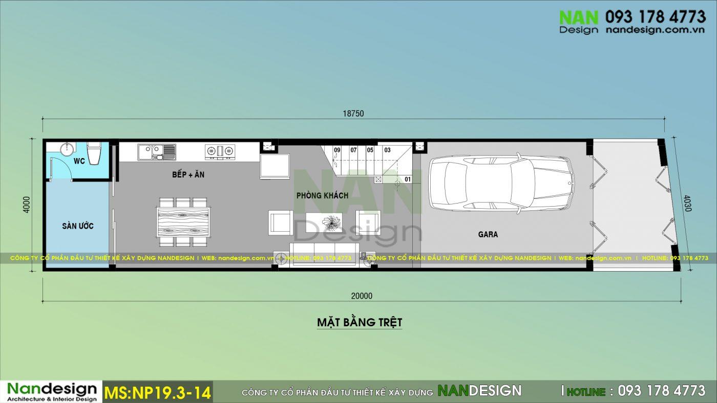 Bản Vẽ Mặt Bằng Lầu Trệt Mẫu Thiết kế Nhà Phố 3 Tầng 4x20 Tân Cổ Điển Với 3 Phòng Ngủ