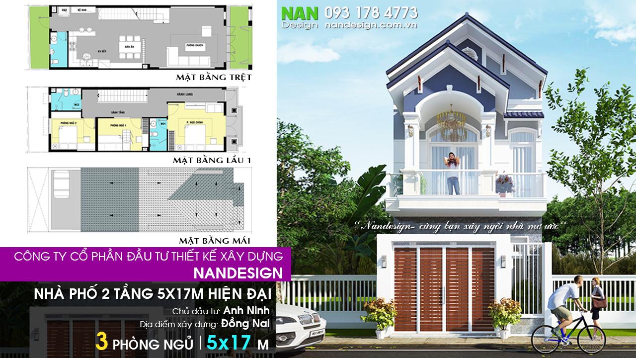 Mẫu Thiết Kế Nhà Phố 2 Tầng 5x17m Hiện Đại Nandesign