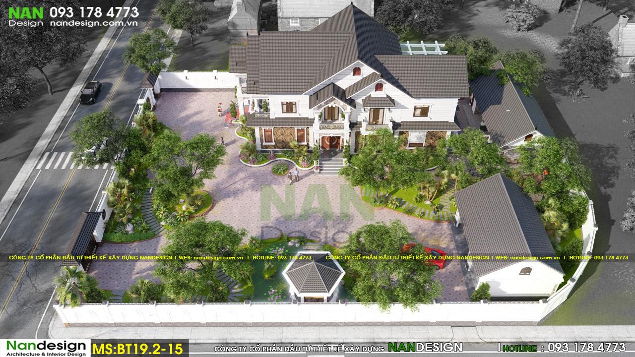 Phối Cảnh Tổng Thể 3D Biệt Thự Bán Cổ Điển 2 Tầng Sân Vườn