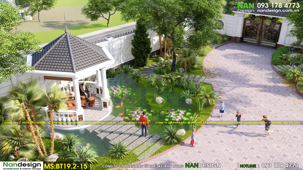 Phối Cảnh 3D Thiết Kế Sân Vườn Biệt Thự