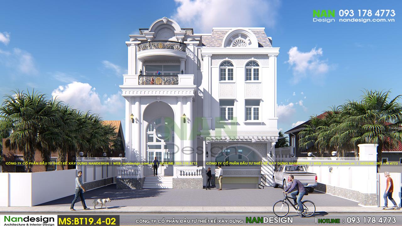 Phối cảnh 3D Mặt Đứng Biệt thự Bán Cổ Điển 4 Tầng Đẹp Sang Trọng Và Tinh Tế
