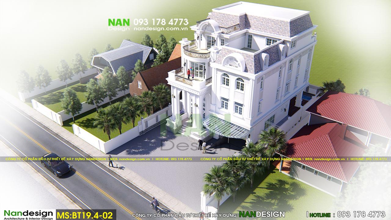 Phối cảnh 3D Tổng Thể Biệt thự Bán Cổ Điển 4 Tầng Đẹp Sang Trọng Và Tinh Tế