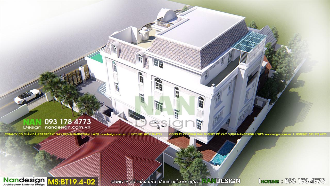 Phối cảnh 3D Tổng Thể Biệt thự Bán Cổ Điển Đẹp Sang Trọng Và Tinh Tế