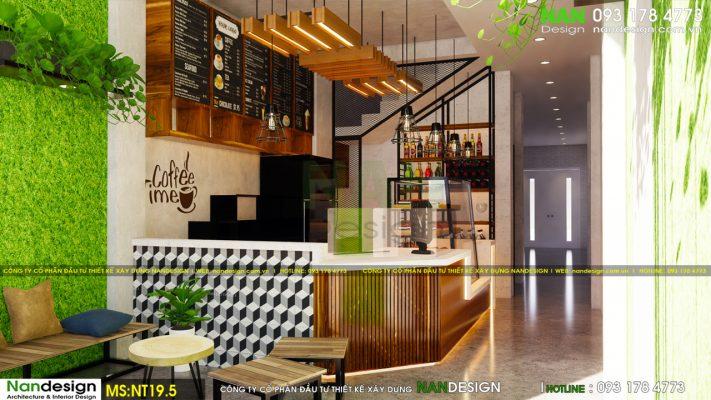 Nội Thất Không Gian 3D Quầy Bar Và Khu Vực Cafe Nhanh