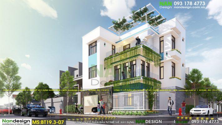 Phối Cảnh 3D Thiết Kế Biệt Thự Phố 3 Tầng 2 Mặt Tiền