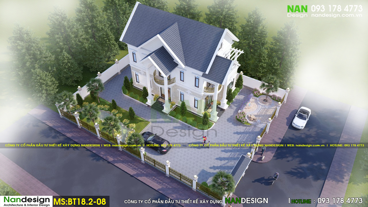 Phối Cảnh 3D Tổng Thể Thiết Kế Biệt Thự Vườn 2 Tầng Bán Cổ Điển