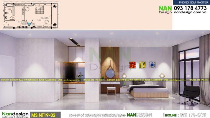 Thiết Kế 3D Nội Thất Hiện Đại Phòng Ngủ Master - Góc Nhìn 1
