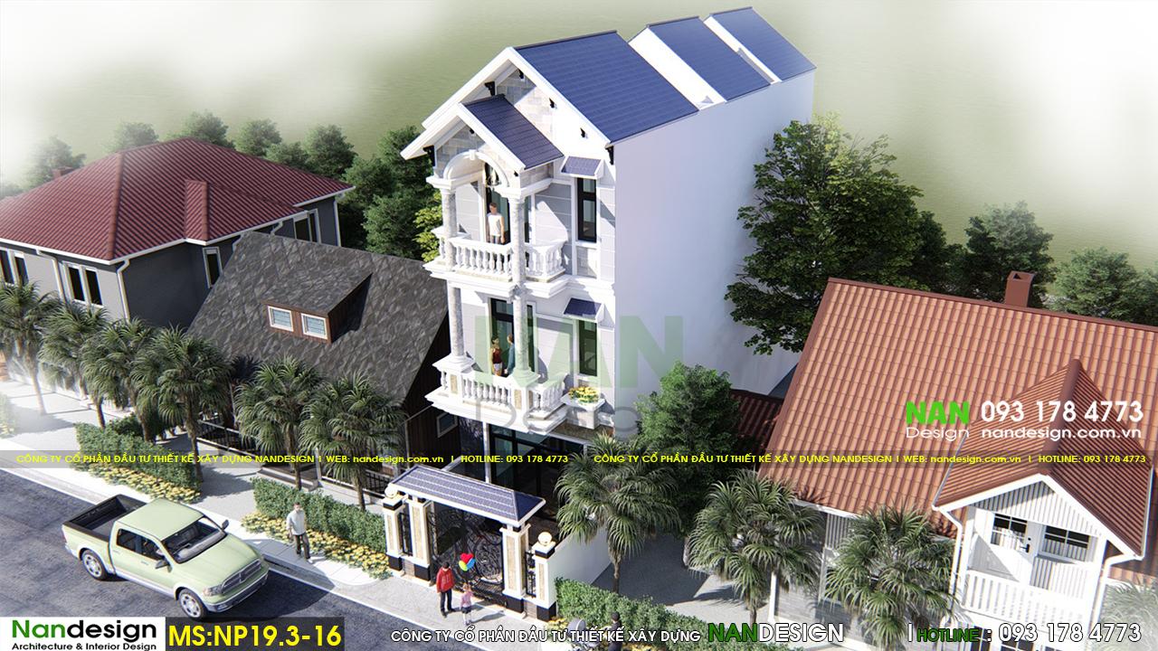 Phối Cảnh 3D Tổng Thể Của Mẫu Nhà Phố 3 Tầng 5x20 Bán Cổ Điển