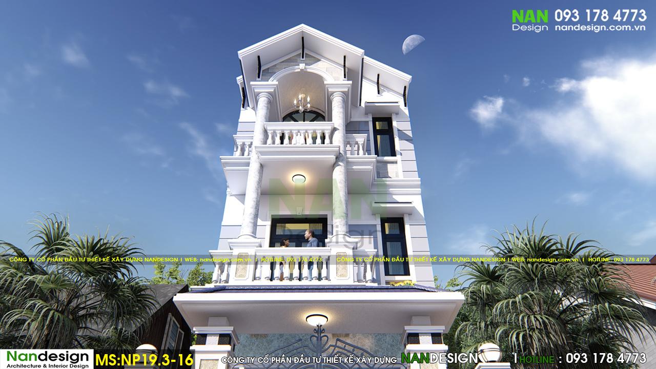 Phối Cảnh 3D Mặt Đứng Nhà Phố Từ Dưới Nhìn Lên