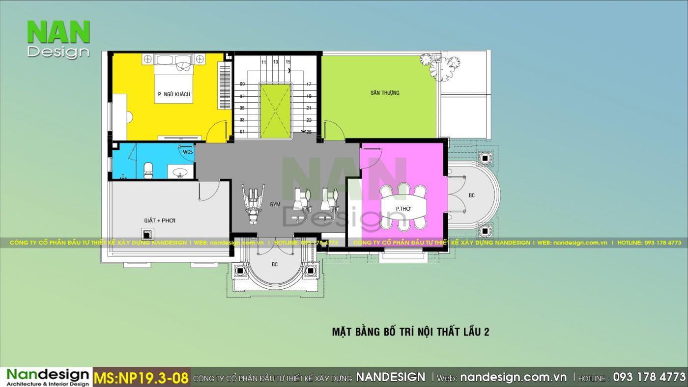 Mặt Bằng Lầu 2 Biệt Thự 3 Tầng Tân Cổ Điển