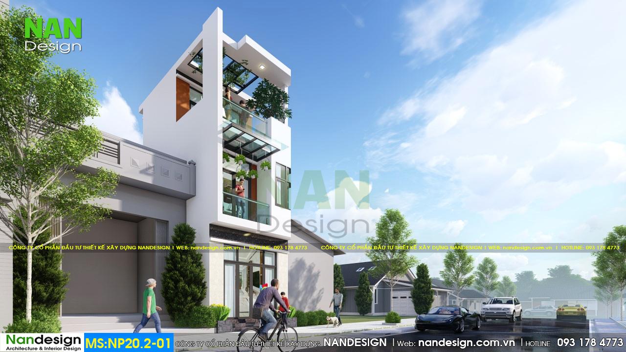 Phối Cảnh 3D Mẫu Nhà Phố 2 Tầng