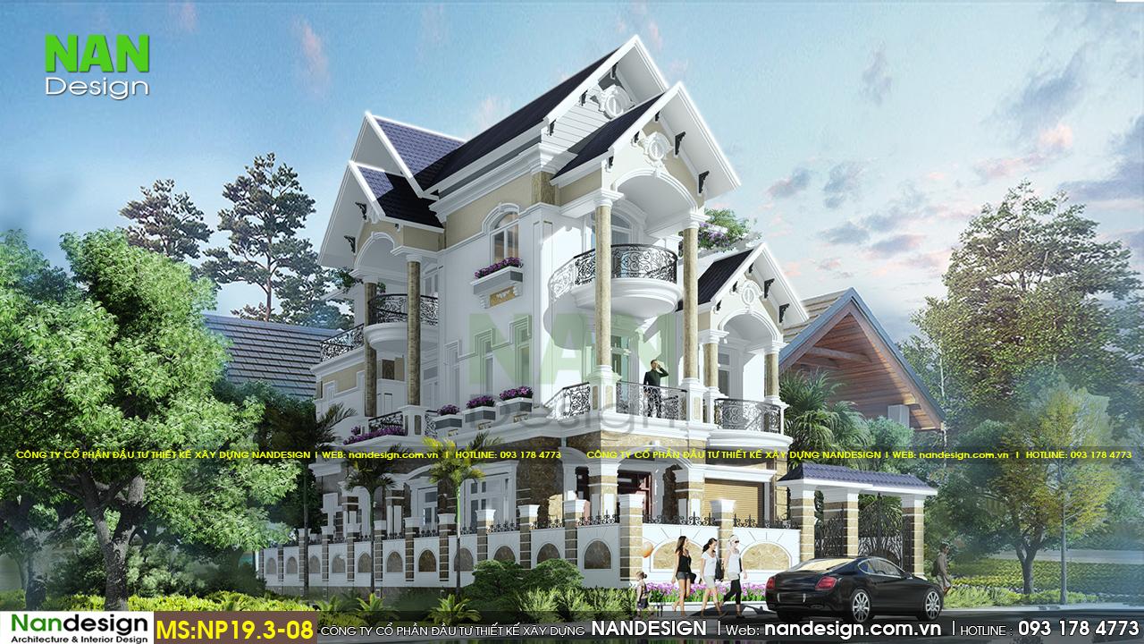 Phối Cảnh 3D Mặt Bên Biệt Thự 3 Tầng Tân Cổ Điển 10x20 | Nandesign