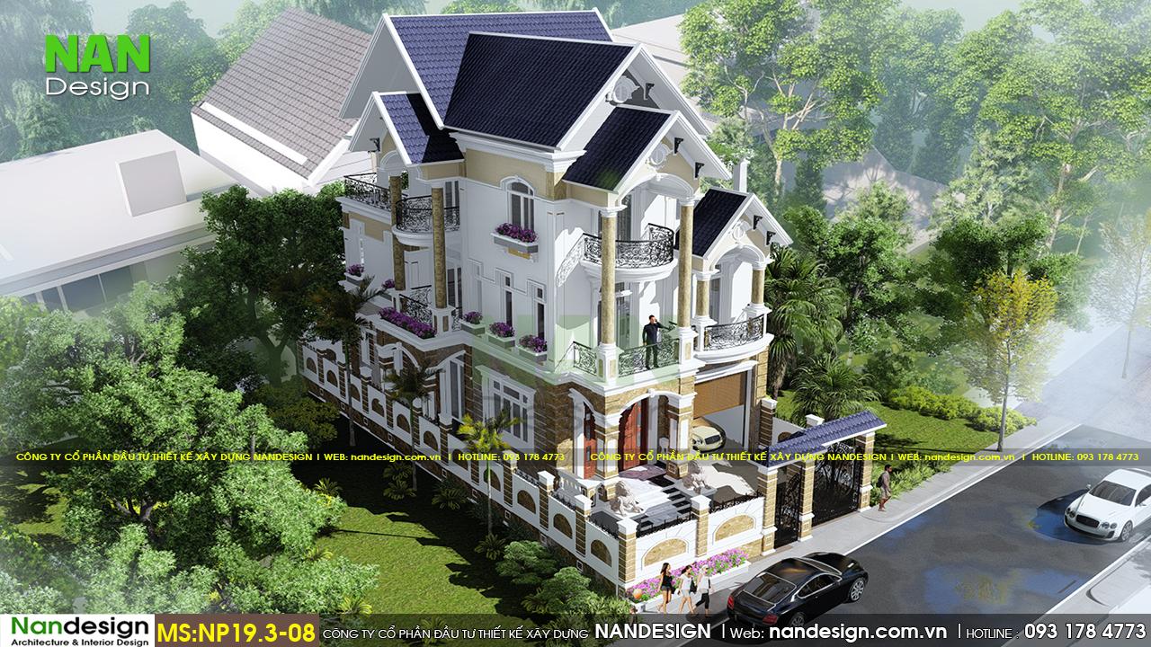 Phối Cảnh 3D Tổng Thể Biệt Thự 3 Tầng Tân Cổ Điển 10x20 | Nandesign