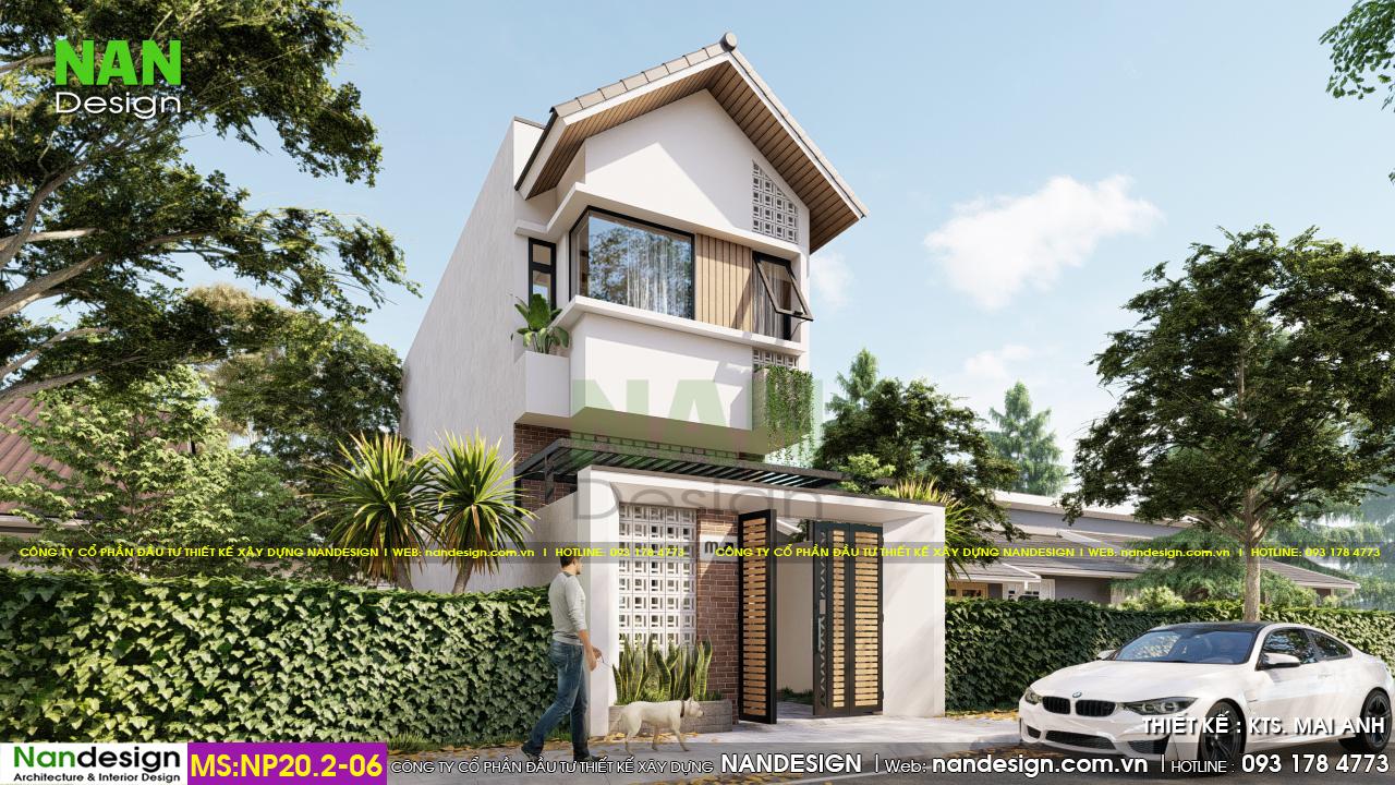 Phối Cảnh 3D Mặt Bên Mẫu Nhà 5x15m Mái Thái