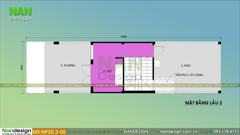 Bản Vẽ Mặt Bằng Tum Nhà 2 Tầng 1 Tum 4x15m Hiện Đại
