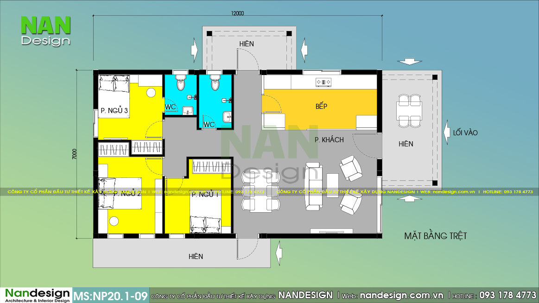 Mặt Bằng Bản Vẽ Nhà Cấp 4 Mái Thái 3 Phòng Ngủ