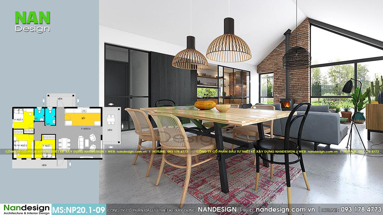 Phòng khách và phòng ăn được thiết kế liên thông với nhau