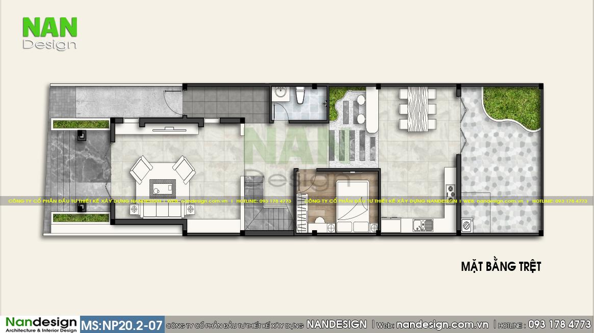 Mặt Bằng Bố Trí Tầng Trệt Bản Vẽ Nhà Ống 2 Tầng 6x12m Mái Thái