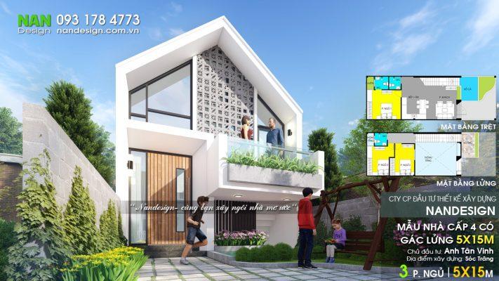 Mẫu Nhà Cấp 4 Có Gác Lửng 5x15 Đẹp Giá Rẻ