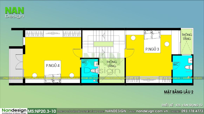Bản Vẽ Lầu 2 Mẫu Thiết Kế Nhà Lệch Tầng Đẹp 5x15m
