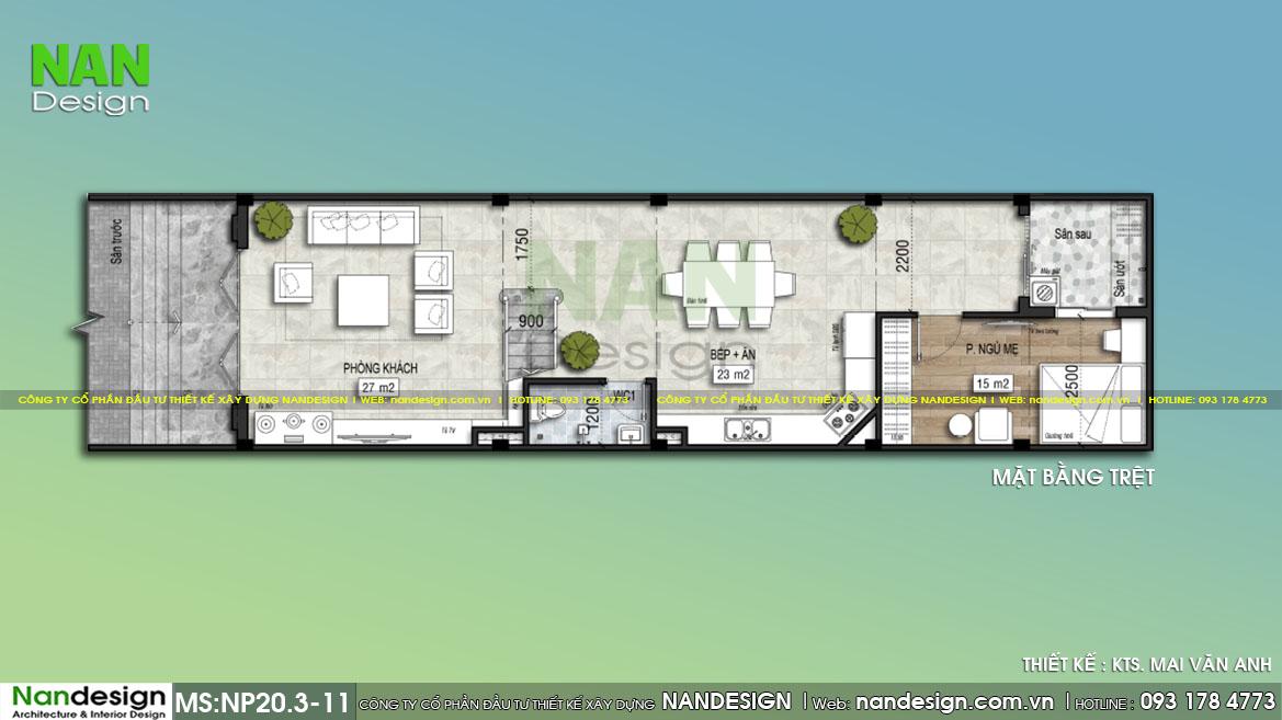 Bản Vẽ Mặt Bằng Tầng Trệt Mẫu Thiết Kế Nhà 5x17m