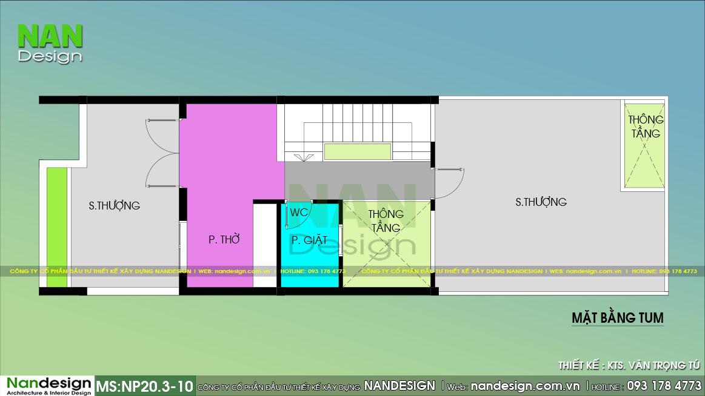 Bản Vẽ Tầng Tum Mẫu Thiết Kế Nhà Lệch Tầng Đẹp 5x15m