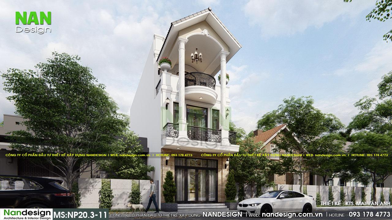 Mẫu Nhà Có Thiết Kế Mặt Tiền Ấn Tượng Với Ban Công Hình Vuông Và Tròn Được Kết Hợp Với Nhau
