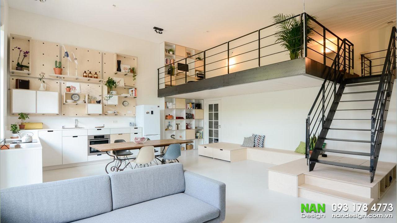 Sử dụng các hệ tủ trang trí và tận dụng được không gian đứng.