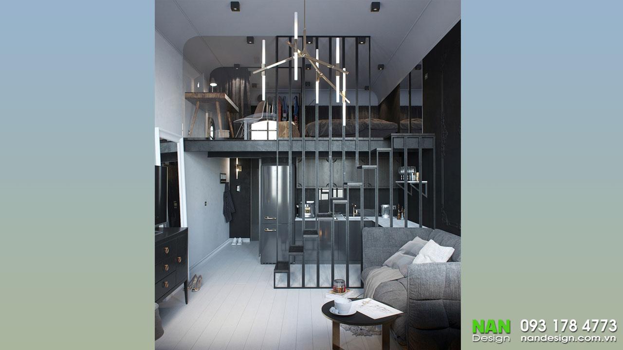 Căn hộ có gác lửng được thiết kế hiện đại với tông màu gỗ
