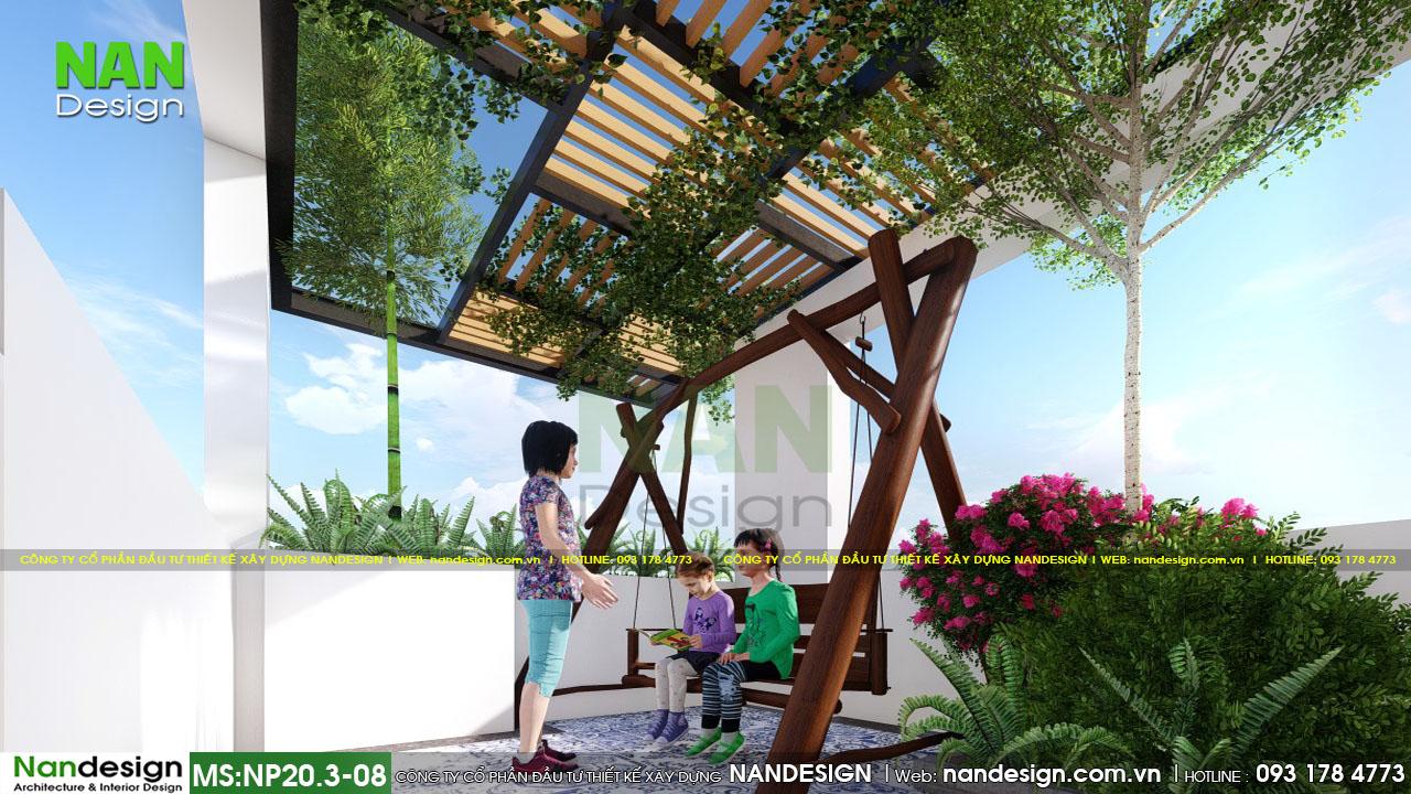 Phối Cảnh 3d Thiết Kế Thi Công Vườn Trên Mái