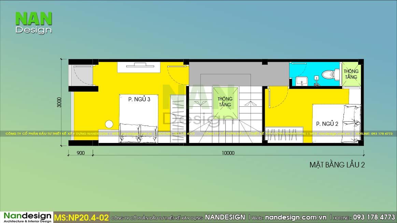 Bản Vẽ Mặt Bằng Bố Trí Vật Dụng Lầu 2 Mẫu Nhà 4 Tầng
