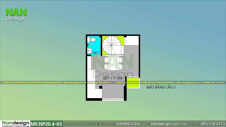 Bản Vẽ Mặt Bằng Lầu 1 Nhà 16m2 Đẹp