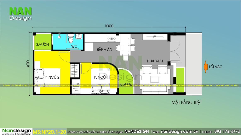 Bản Vẽ Mẫu Nhà Cấp 4 40m2 2 Phòng Ngủ