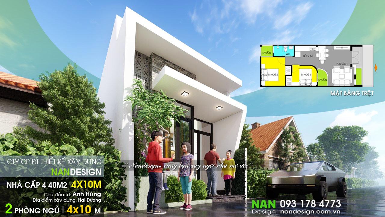 Mẫu Nhà Cấp 4 40m2 2 Phòng Ngủ