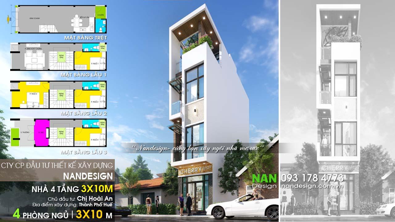 Thiết Kế Nhà 30m2 4 Tầng 3x10 Hiện Đại Nandesign