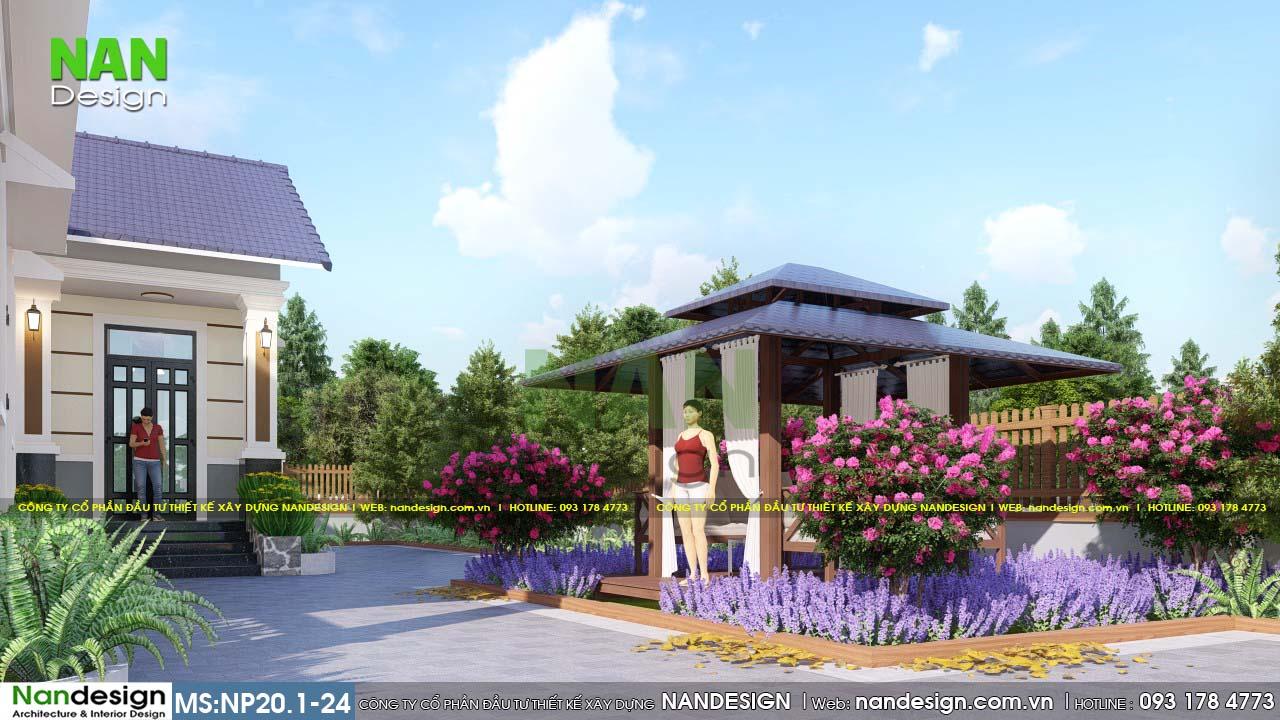 Thiết Kế Sân Vườn Với Chòi Nghỉ Thư Giãn Và Cây Xanh Mát