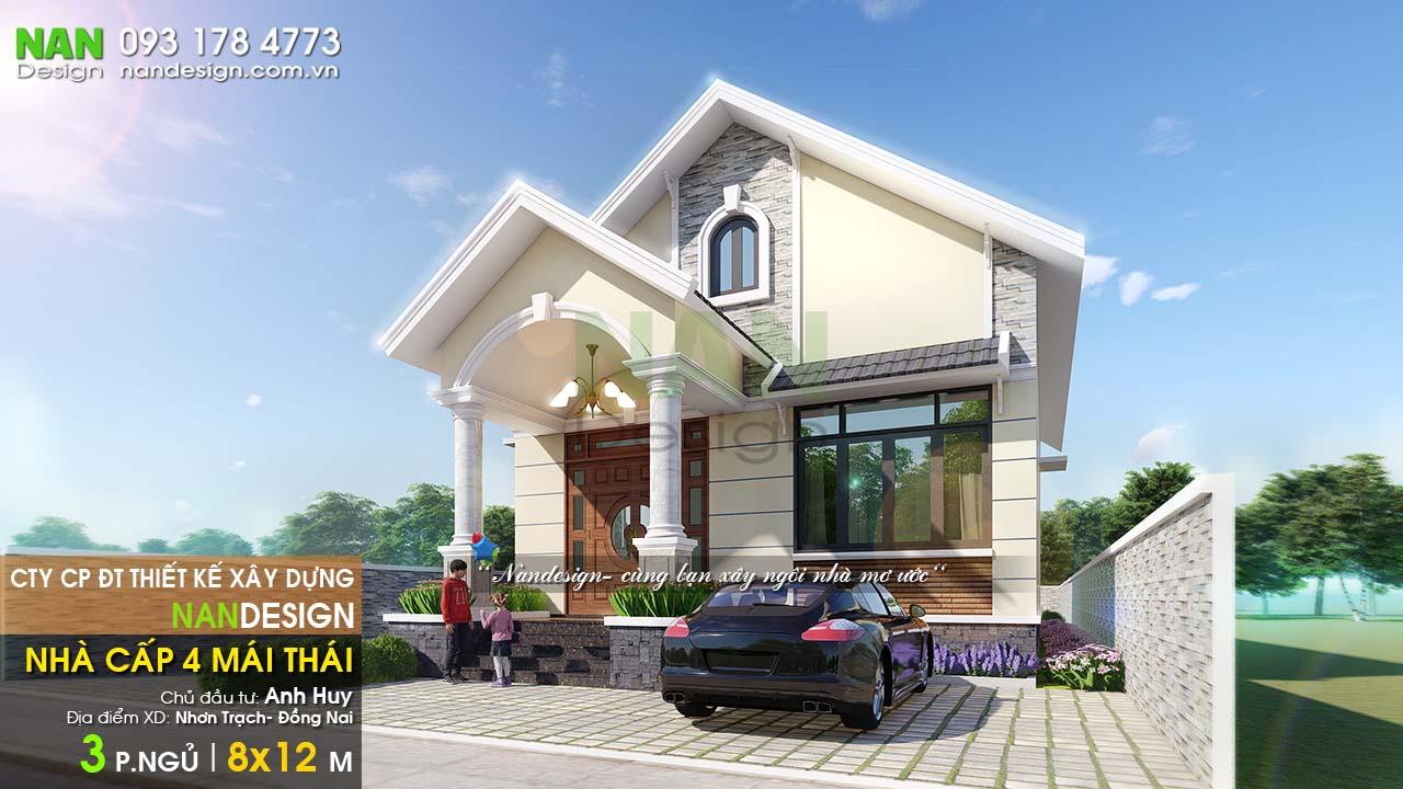 Mẫu Nhà Cấp 4 8x12m Mái Thái Với 3 Phòng Ngủ
