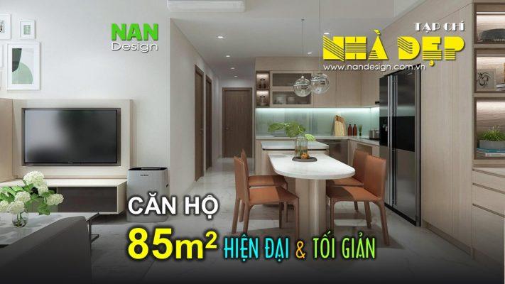 Thiết kế nội thất căn hộ 85m2 hiện đại và tối giản