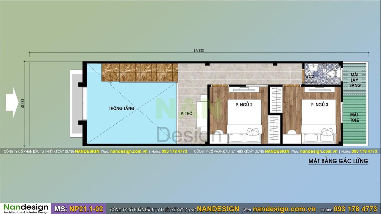 Bản Vẽ Mặt Bằng Tầng Lửng Nhà Gác Lửng 4x16
