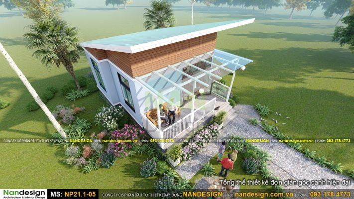 Phối Cảnh 3d tổng thể mẫu thiết kế nhà 7x8m