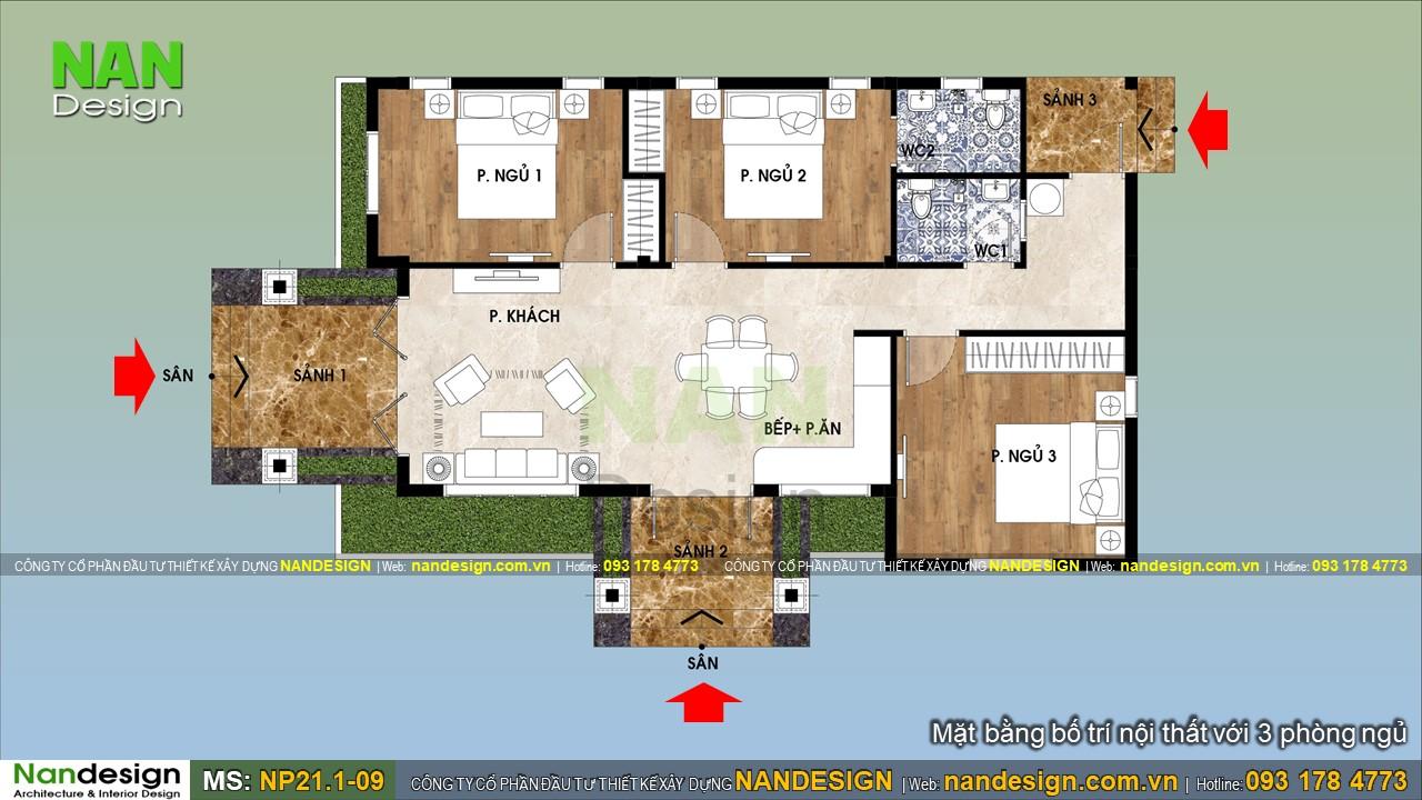 Mặt Bằng Bản Vẽ Thiết Kế Nhà 1 Tầng 8x15m