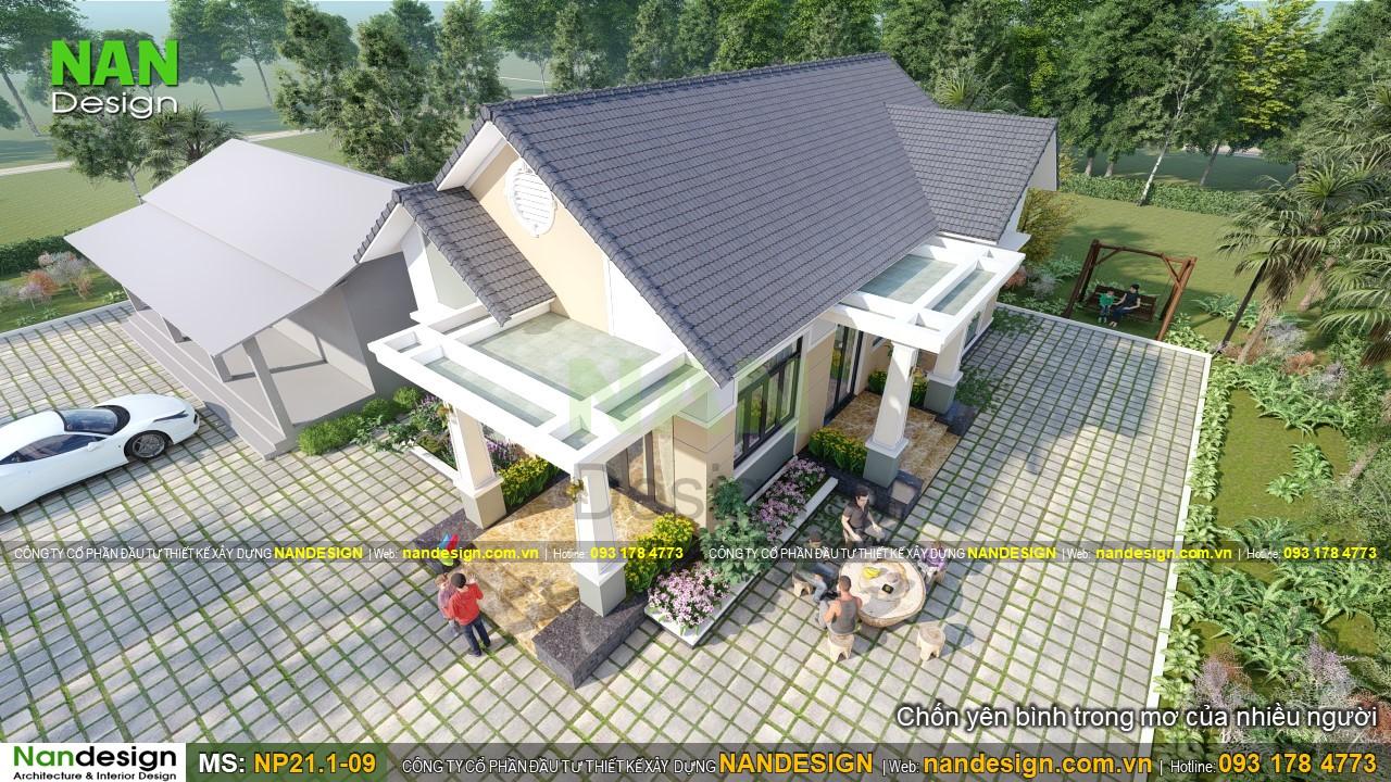 Phối cảnh tổng thể mẫu thiết kế nhà cấp 4 8x15m với hình khối hài hòa