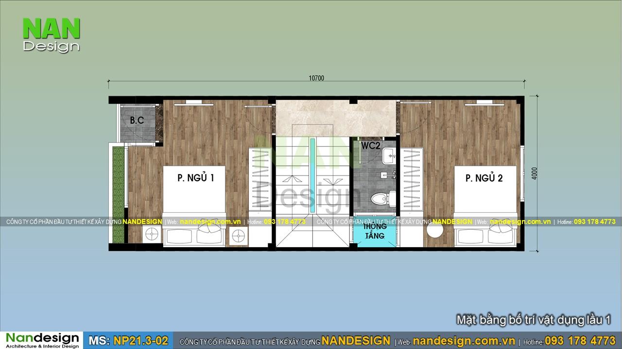 Bản Vẽ Lầu 1 Mẫu Nhà 3 Tầng 4x10m
