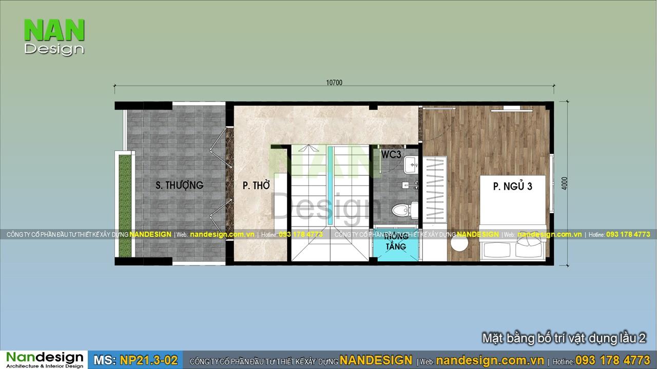 Bản Vẽ Lầu 2 Mẫu Nhà 3 Tầng 4x10m