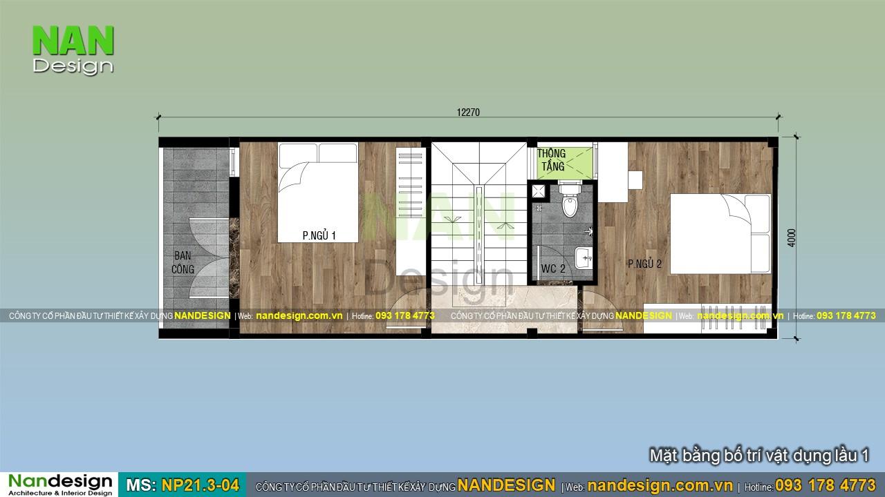 Bản Vẽ Mặt Bằng Lầu 1 Mẫu Nhà 4x13m Đẹp 3 Tầng