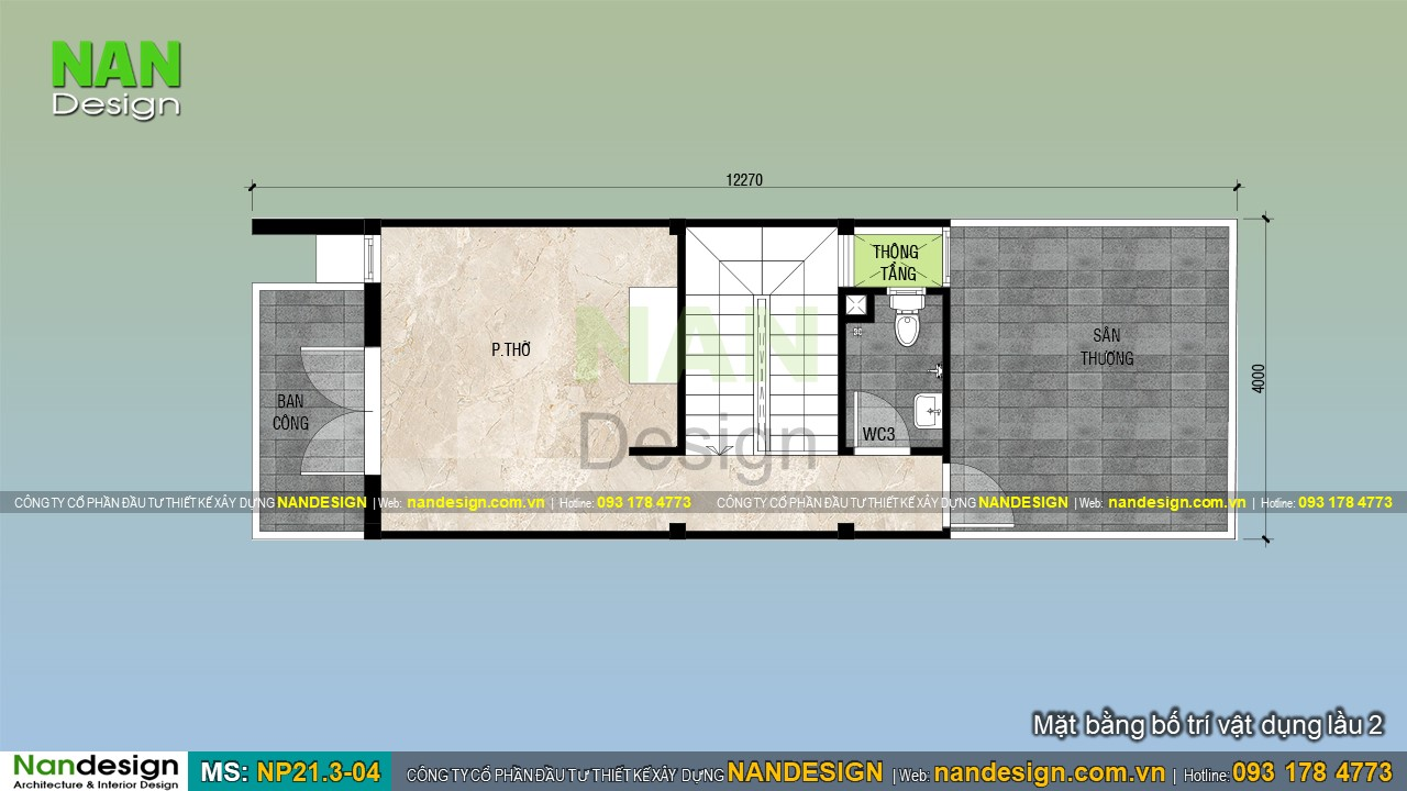 Bản Vẽ Mặt Bằng Lầu 2 Mẫu Nhà 4x13m Đẹp 3 Tầng