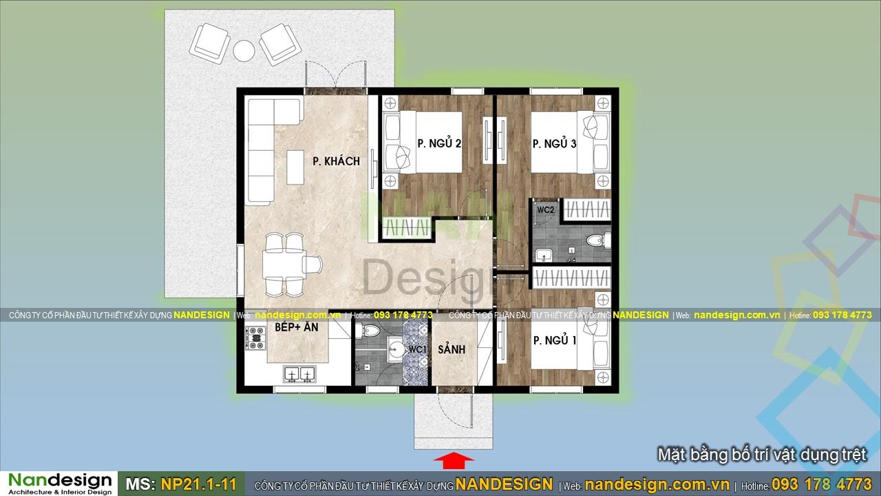Bản Vẽ Mặt Bằng Nhà Cấp 4 8x10m 3 Phòng Ngủ