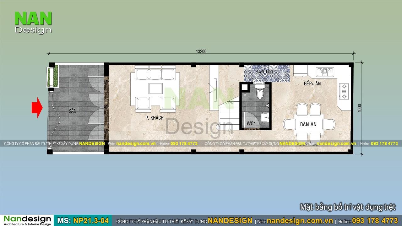 Bản Vẽ Mặt Bằng Trệt Mẫu Nhà 4x13m Đẹp 3 Tầng